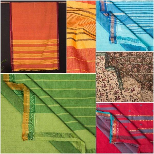 Handloom Mangalgiri Godavari & Kalamkari Pure Cotton Sarees by Dastkar Andhra (DAMA)