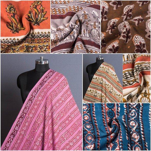 Jahota Hand Block Printed Natural Dyed Pure Cotton Fabrics