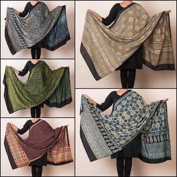 Ajrakh Block Print Natural Dyed Modal Silk & Cotton Dupattas from Kutch