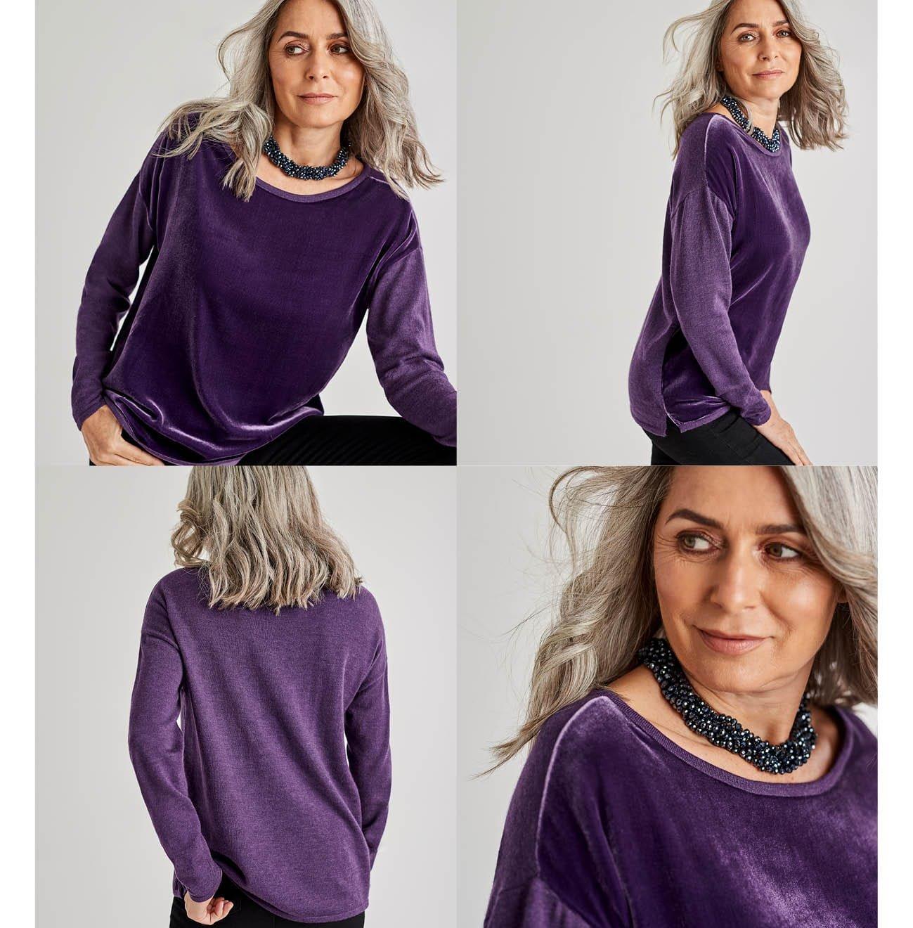 Womens Silk Blend Velvet Panel Top in Blueberry