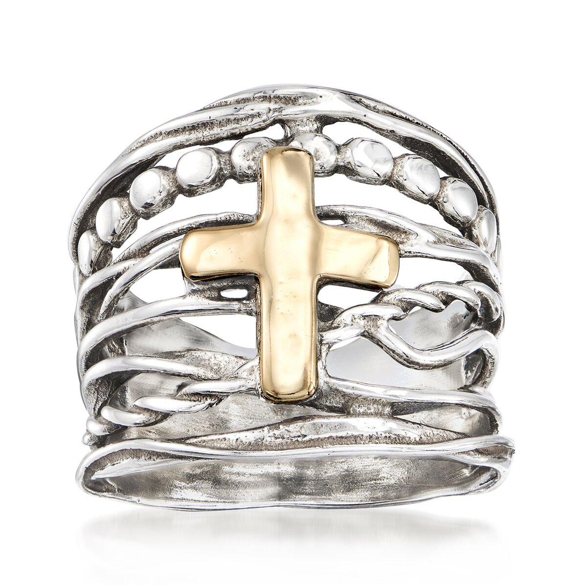 Multi-Row Cross Ring in Sterling Silver and 14kt Yellow Gold