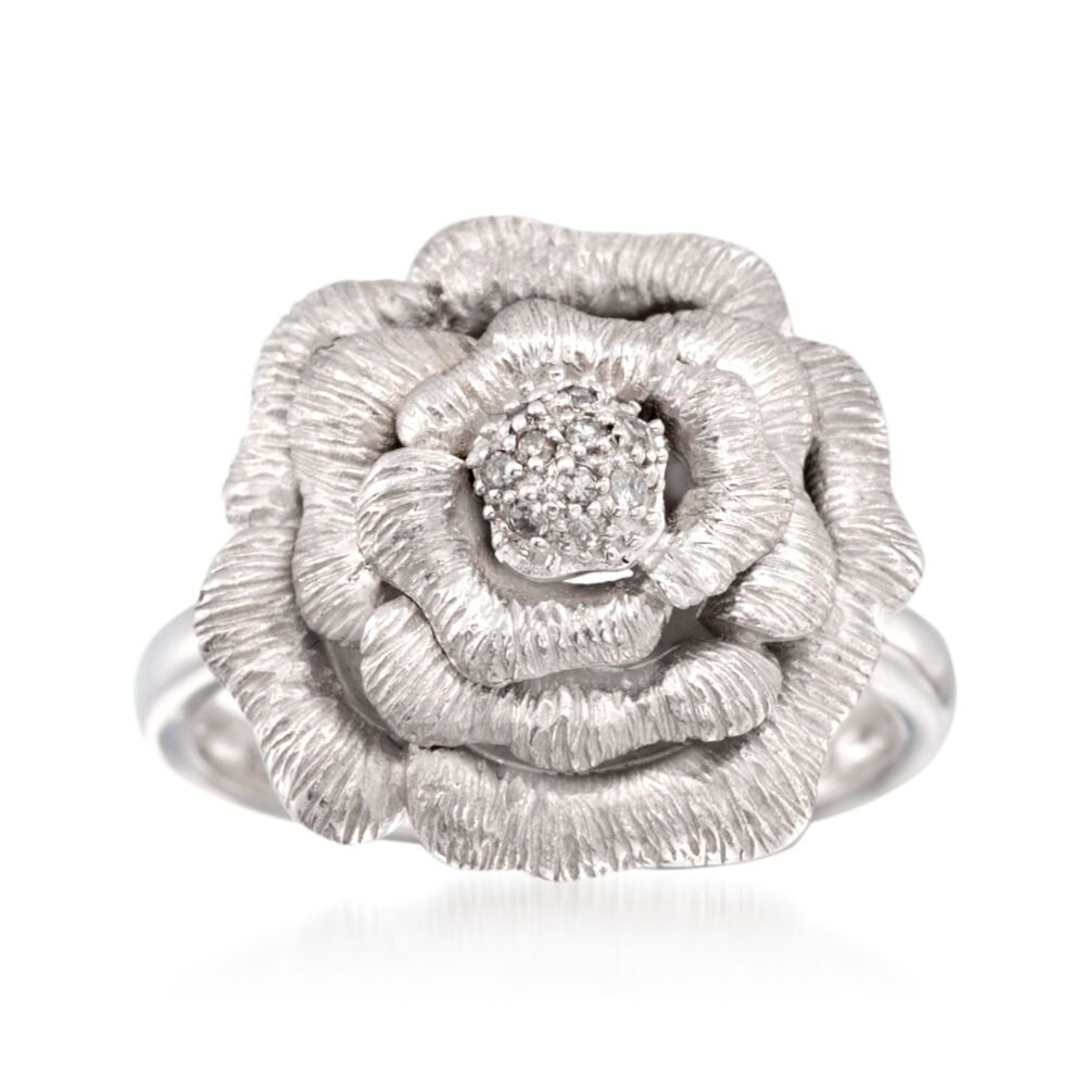 Sterling Silver Rose Ring with Diamond Accents