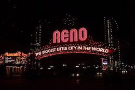 A neon sign that reads 'Reno: The Biggest Little City in the World'