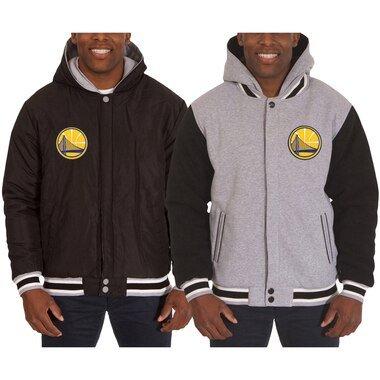 Men's JH Design Black/Gray Golden State Warriors Two-Tone Reversible Fleece Hooded Jacket