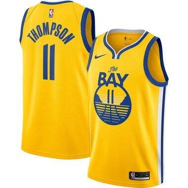 Men's Nike Klay Thompson Gold Golden State Warriors Finished Swingman Jersey - Statement Edition