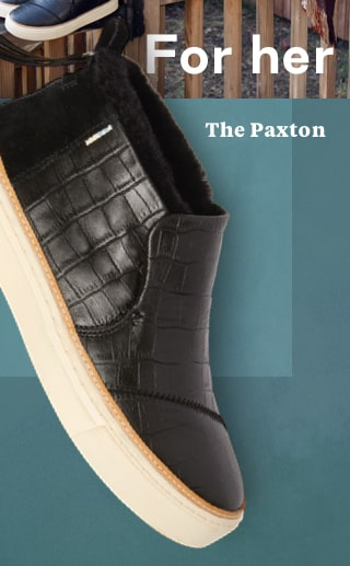 Black Croc Embossed Leather and Faux Fur Women's Paxton Slip-Ons