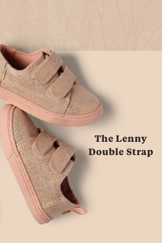 Rose Gold Iridescent Droplets Tiny TOMS Lenny Double Strap Sneakers