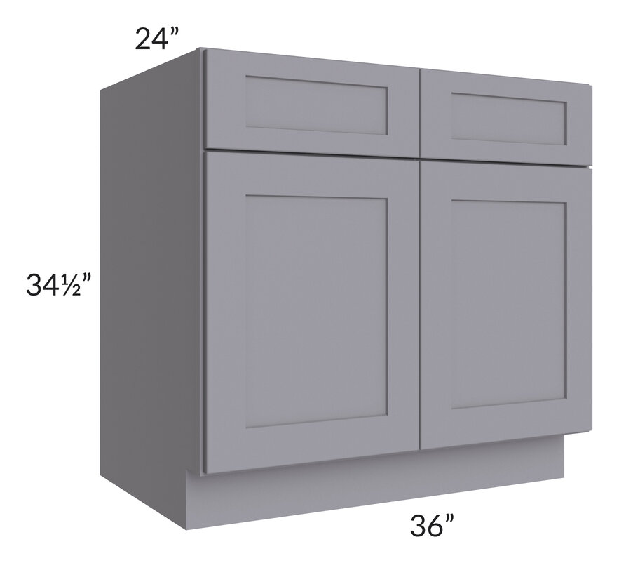 "Graphite Grey Shaker 36"" Sink Base Cabinet"