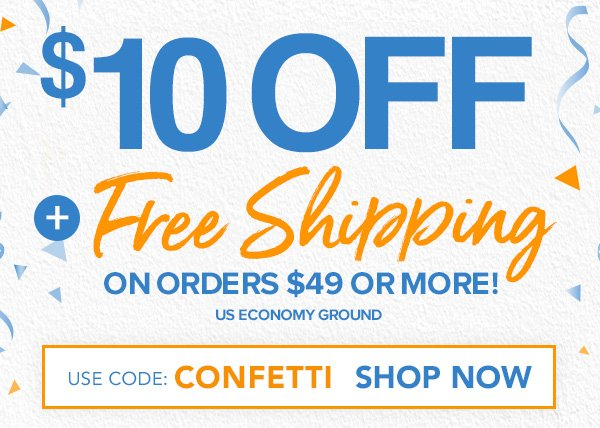 $10 Off + Free Shipping On Orders $49+ With Code CONFETTI