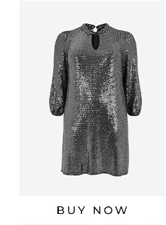 Silver Sparkle Twist Neck Dress