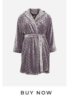 Grey Hooded Star Print Robe