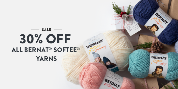 25% off Bernat Softee yarns