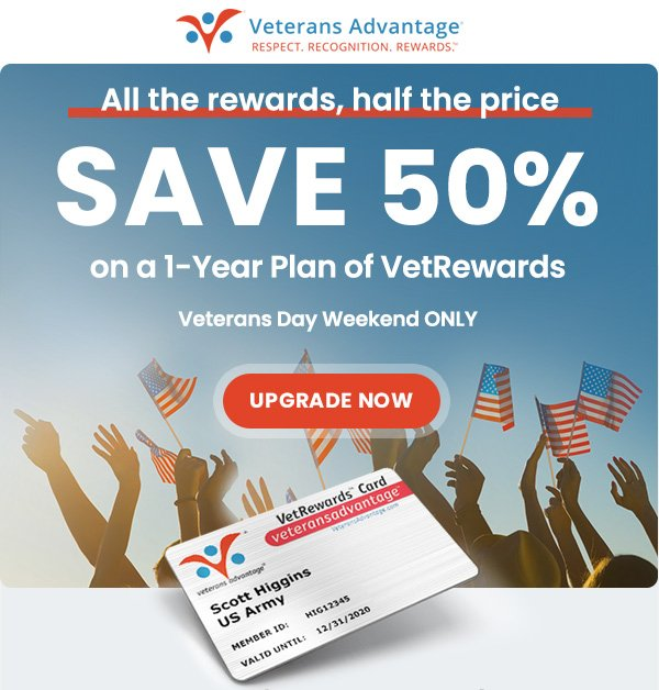 Save 50% on on a 1-year plan of VetRewards