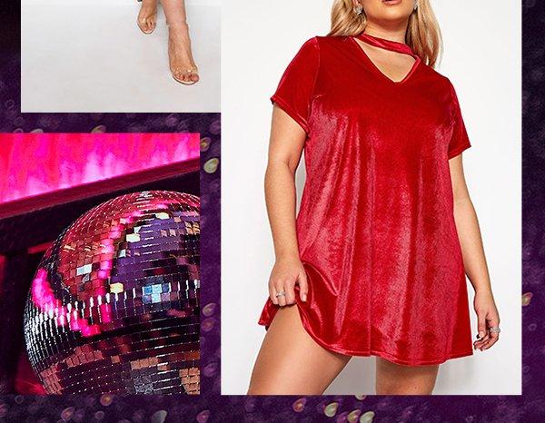 Red Velour Choker Swing Dress
