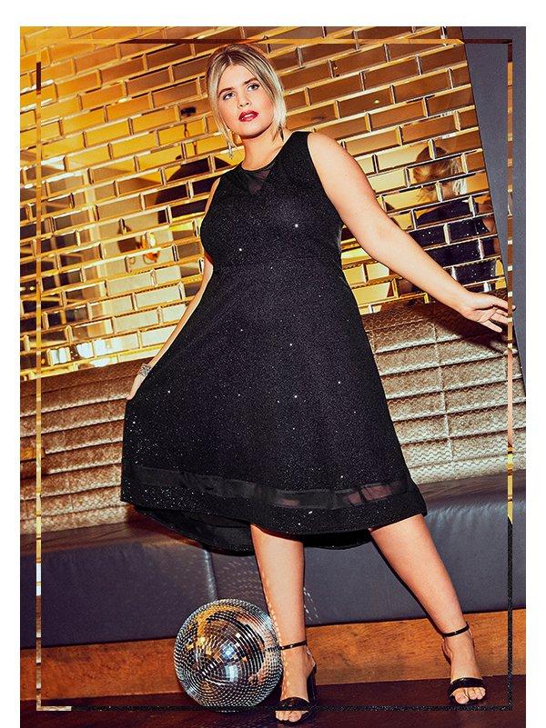 Black Glitter Dipped Hem Skater Dress