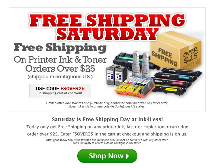 Please Click 'Display Images' to get the Ink4Less Free Shipping Offer.