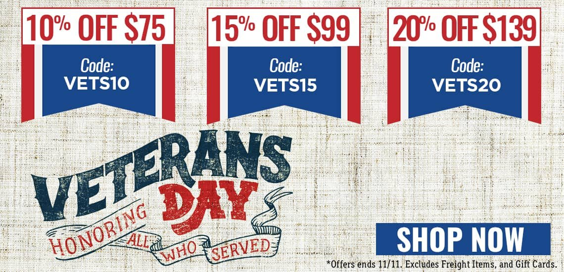 Save 10% off $75 (VETS10), 15% off $99 (VETS15), or 20% off $139 (VETS20)
