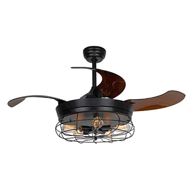 Vintage Black Metal Foldable 4-Blade Ceiling Fan with 5-Light