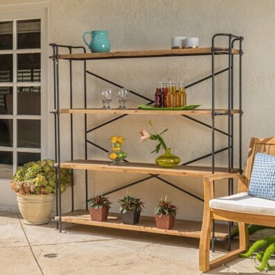 Danielle Natural Wood Finish Outdoor Iron 4-Shelf Bookcase