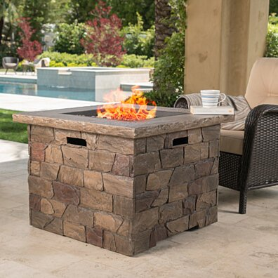 Stonecrest Outdoor Stone Finish 40,000 BTU Propane Gas Square Firepit