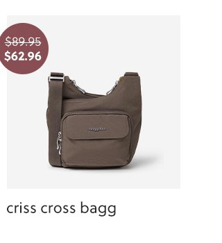 A brown criss cross bagg for 30 percent off