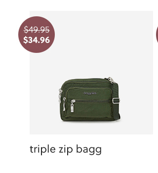 A green triple zip bagg for 30 percent off