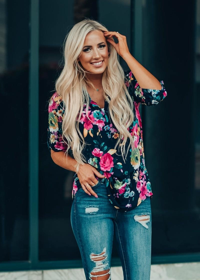 Image of Perfect Floral Print Rolled Up Sleeve Top Navy