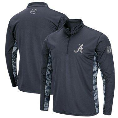 Alabama Crimson Tide Colosseum OHT Military Appreciation Digital Camo Quarter-Zip Pullover Jacket - Charcoal