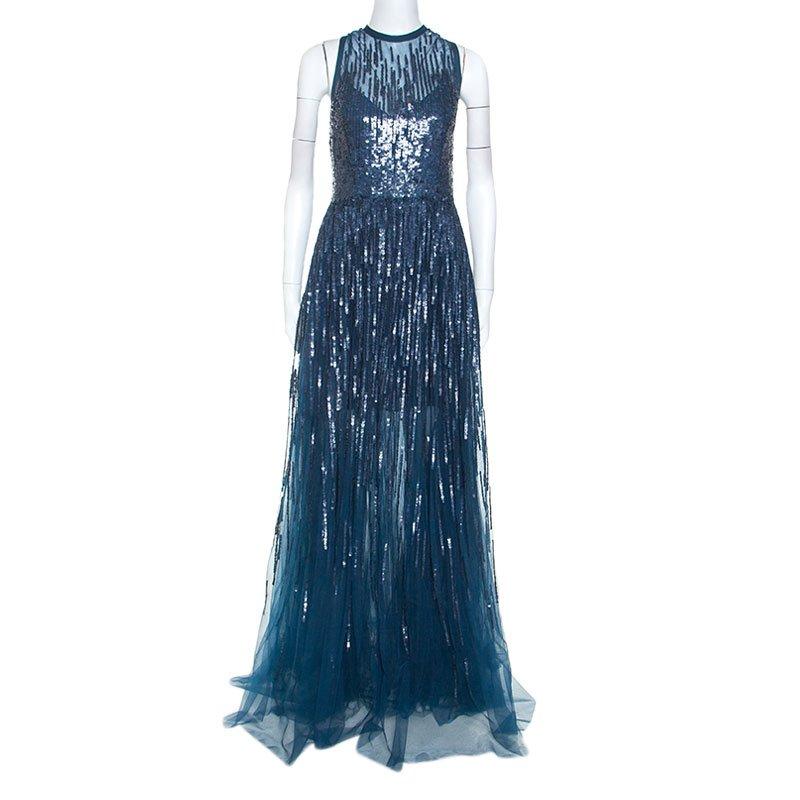 Teal Blue Sequinned Tulle Sleeveless Dress M