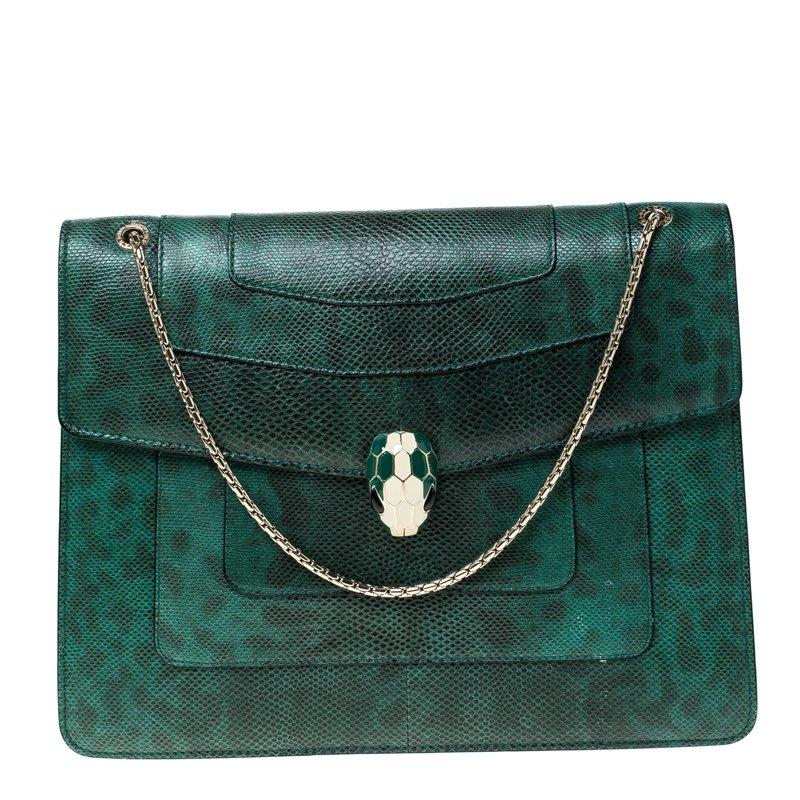 Green/Black Lizard Large Serpenti Forever Shoulder Bag