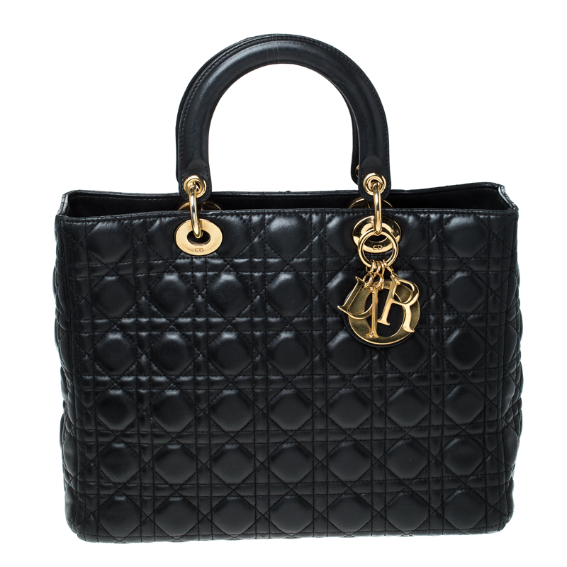 Black Cannage Leather Large Lady  Tote