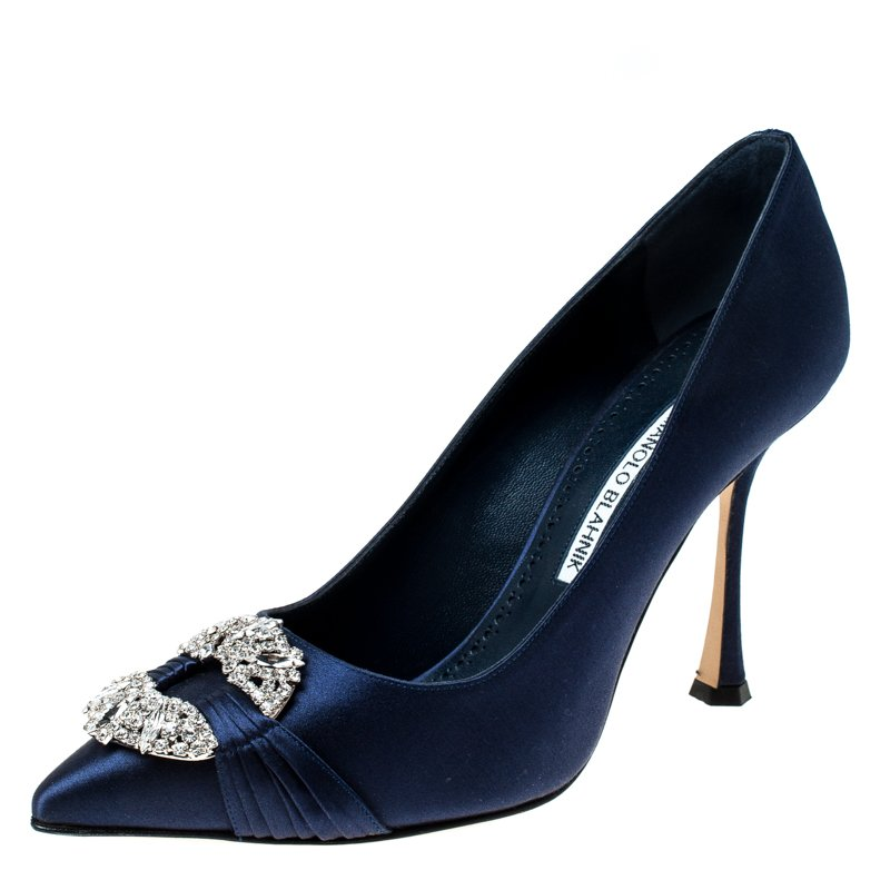 Navy Blue Satin Maidu Pointed Toe Pumps Size 38