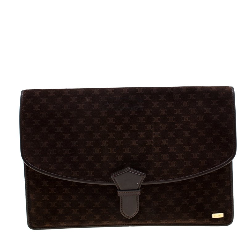 Brown Suede and Leather Clutch