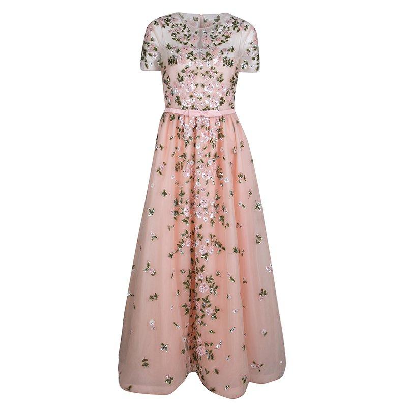 Pink Floral Embellished Belted Tulle Gown M