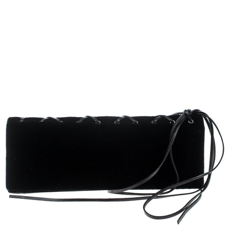 Saint Laurent  Black Velvet Lace Up Clutch