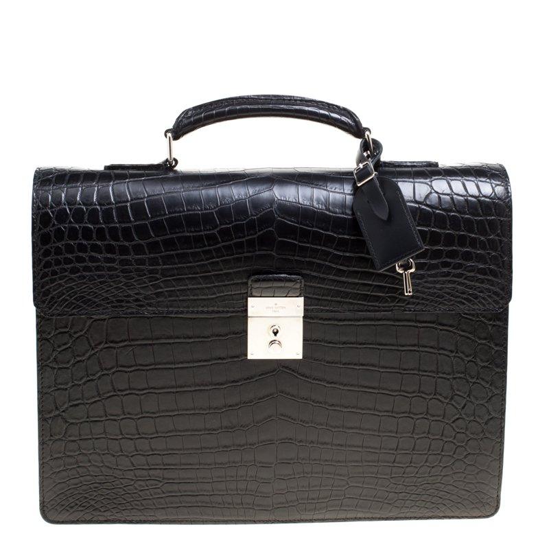 Black Crocodile Robusto Briefcase