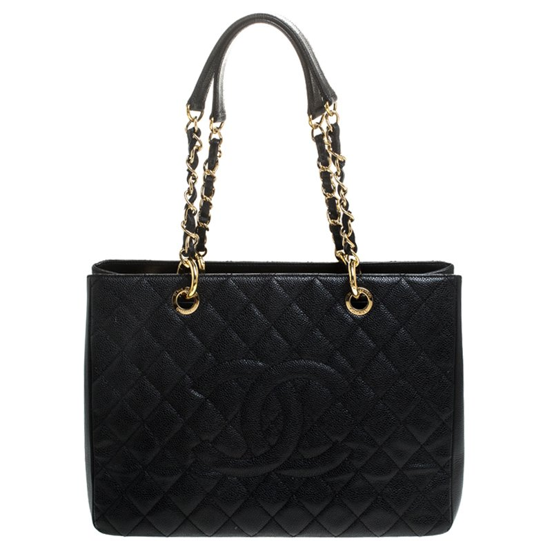Black Quilted Caviar Leather Grand Shopping Tote