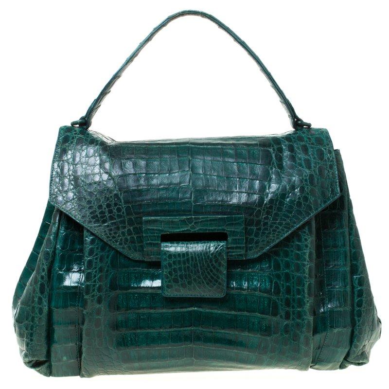 Nancy Gonzales Green Crocodile Flap Top Handle Bag