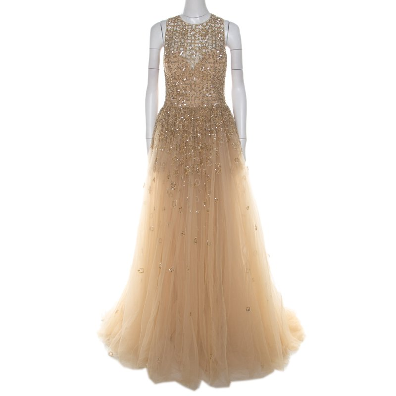 Toffee Cream Layered Tulle Embellished Sheer Yoke Evening Gown S
