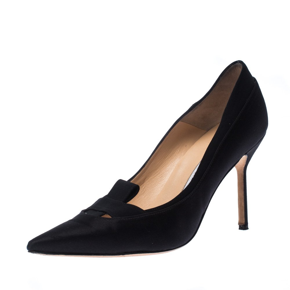 Black Satin Cross Pointed Toe Pumps Size 38