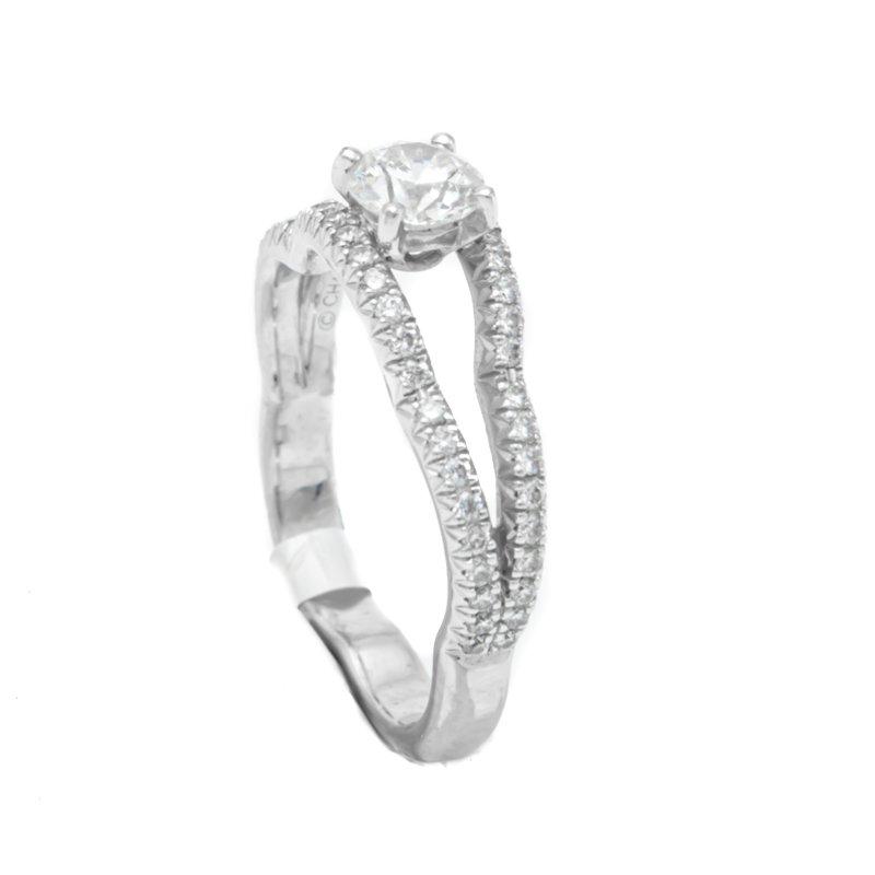 Camelia 18K White Gold Diamonds Ring Size 53 Gia Certificate