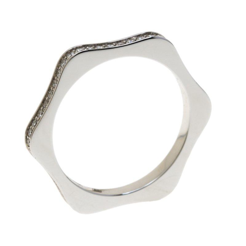 4810 Star Diamond 18k White Gold Band Ring Size 50