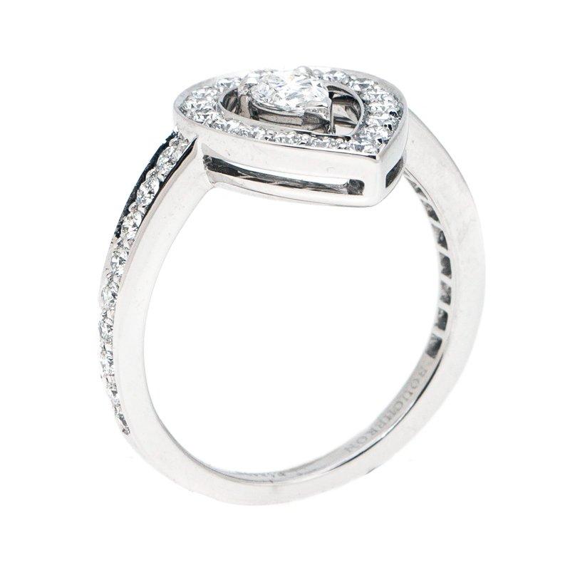 Ava Pear Diamond 18k White Gold Ring Size 53
