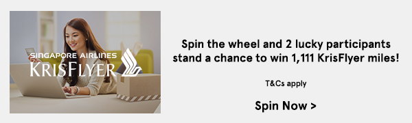 Spin the wheel and 2 lucky participants stand a chance to win 1,111 KrisFlyer Miles!