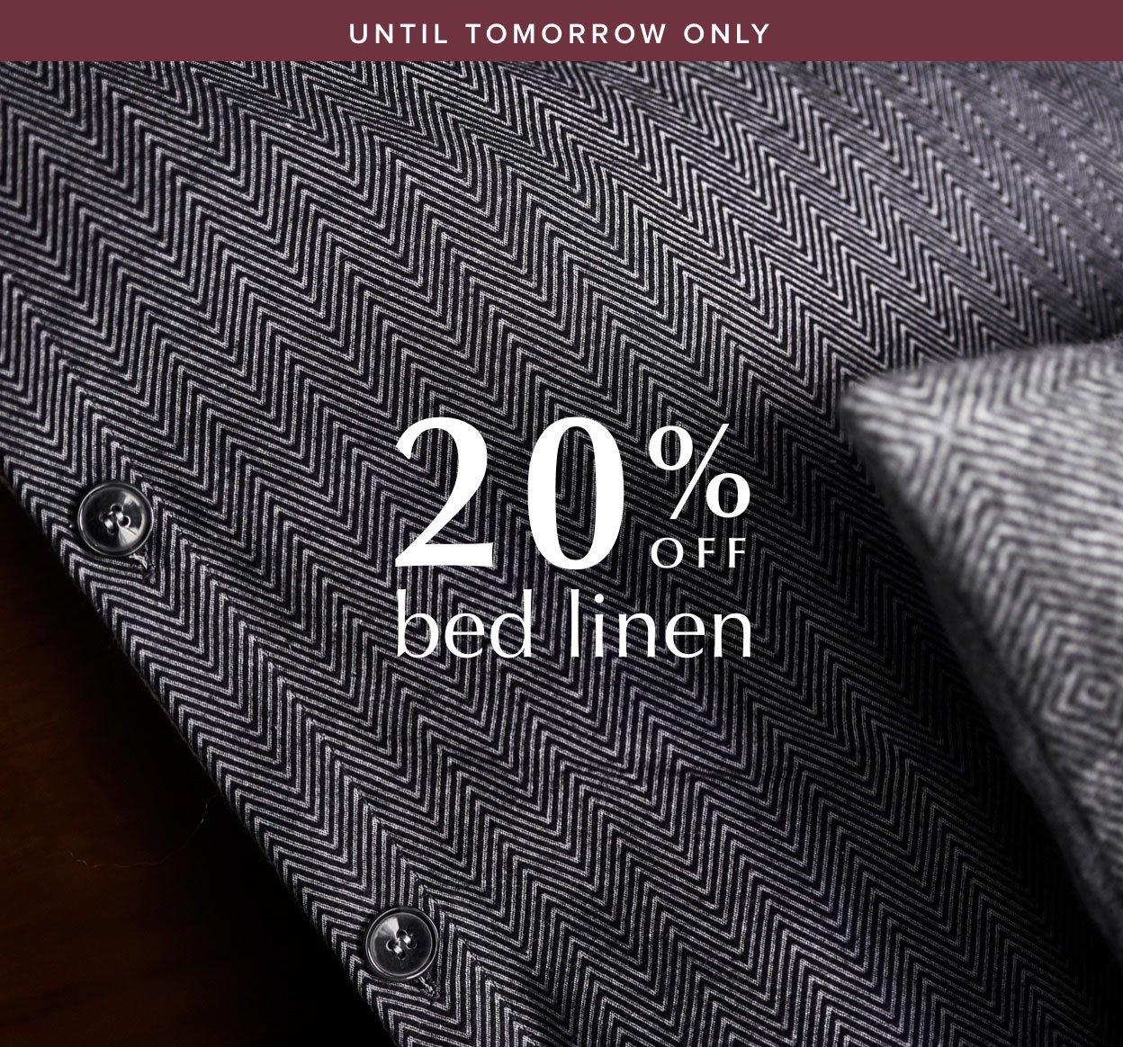 20% off bed linen