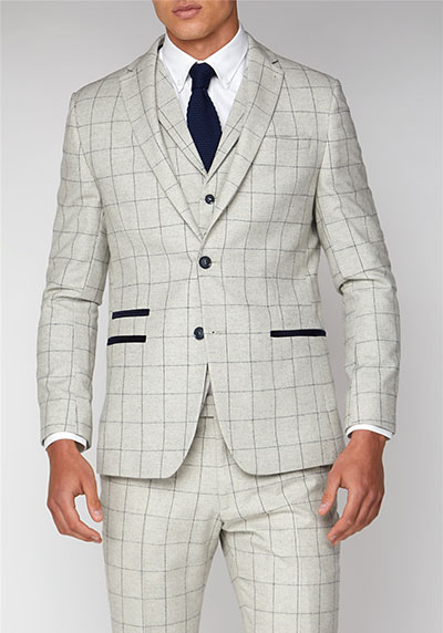 Limehaus Cream Check Slim Fit Suit