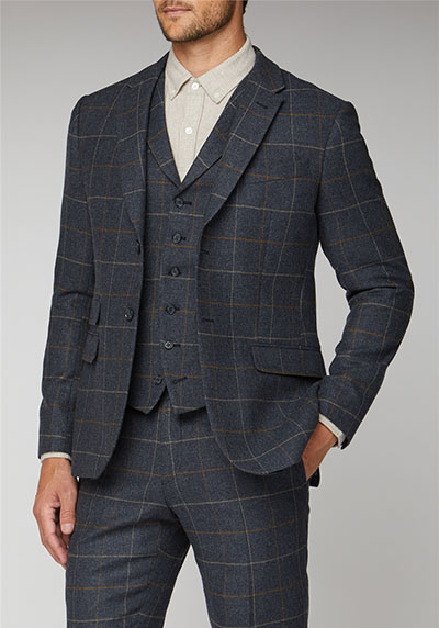 Racing Green Blue Heritage Check Tailored Fit Suit