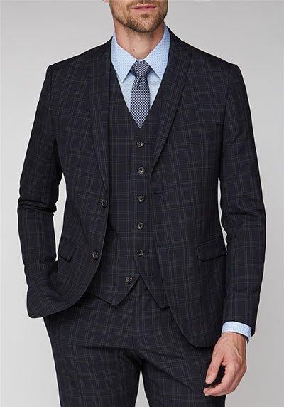 Jeff Banks Deep Blue Check Super Slim Fit Suit