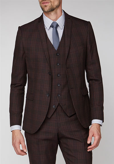 Jeff Banks Burgundy Check Super Slim Fit Brit Suit