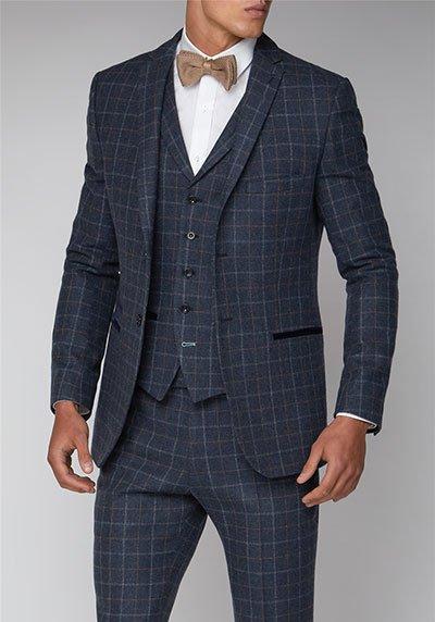 Limehaus Blue Check Slim Fit Suit